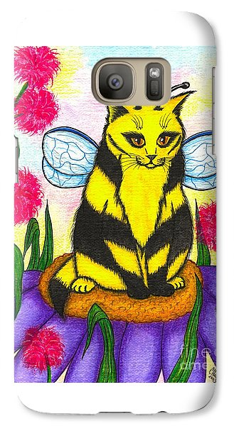Galaxy Case featuring the painting Buzz Bumble Bee Fairy Cat by Carrie Hawks
