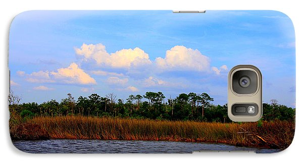 Galaxy Case featuring the photograph Cabbage Palms And Salt Marsh Grasses Of The Waccasassa Preserve by Barbara Bowen