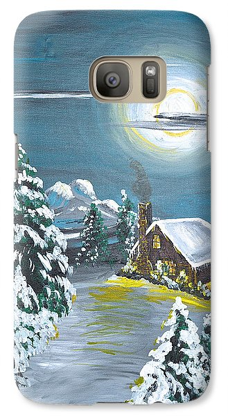 Galaxy Case featuring the painting Cabin In The Woods by Donna Blossom