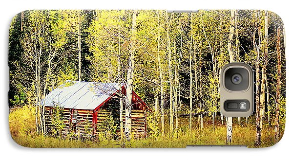 Galaxy Case featuring the photograph Cabin In The Golden Woods by Karen Shackles