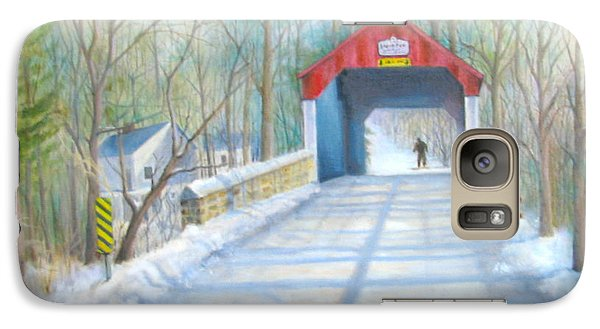 Galaxy Case featuring the painting Cabin Run Bridge In Winter by Oz Freedgood