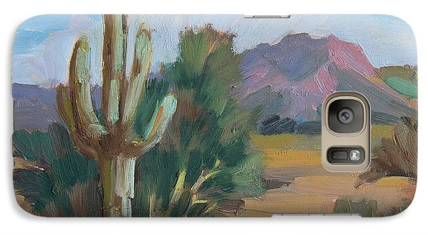 Galaxy Case featuring the painting Cactus By The Red Mountains by Diane McClary