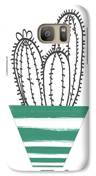 Galaxy Case featuring the mixed media Cactus In A Green Pot- Art By Linda Woods by Linda Woods