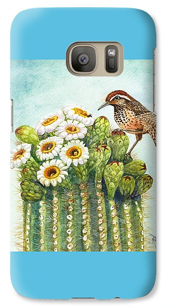 Galaxy Case featuring the painting Cactus Wren And Saguaro by Marilyn Smith