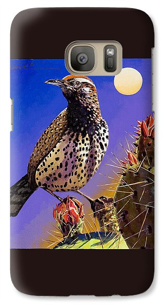 Galaxy Case featuring the painting Cactus Wren by Bob Coonts