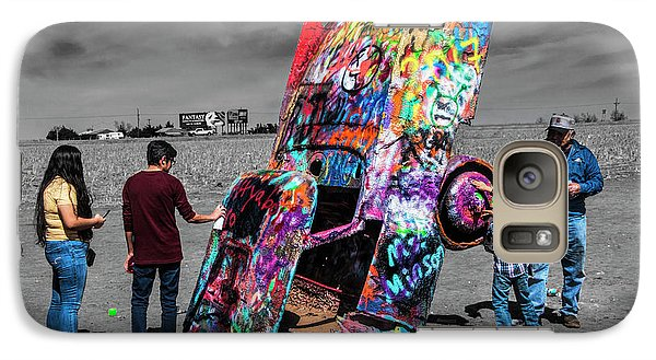 Galaxy Case featuring the photograph Cadillac Ranch Spray Paint Fun Along Historic Route 66 By Amarillo Texas by Randall Nyhof
