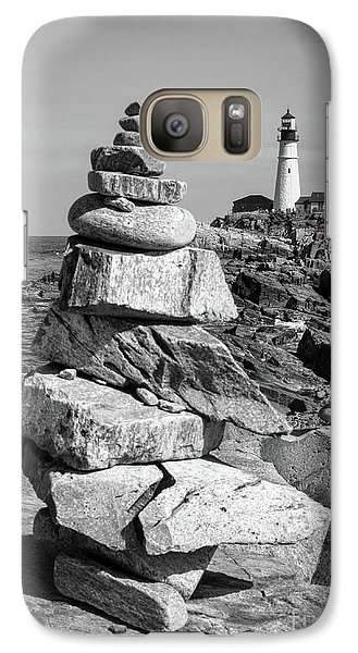 Galaxy Case featuring the photograph Cairn And Lighthouse  -56052-bw by John Bald