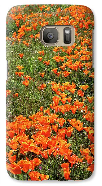 Galaxy Case featuring the mixed media California Poppies- Art By Linda Woods by Linda Woods