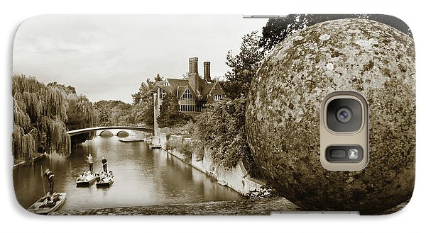 Galaxy Case featuring the photograph Cambridge Punting Sepia by Eden Baed