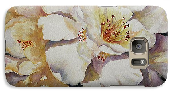 Galaxy Case featuring the painting Camellias Golden Glow by Roxanne Tobaison