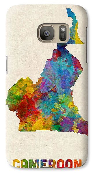 Galaxy Case featuring the digital art Cameroon Watercolor Map by Michael Tompsett