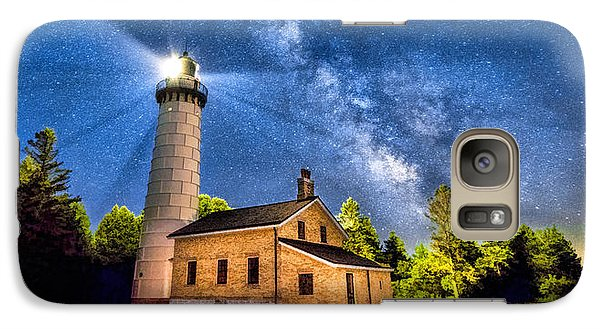 Cana Island Lighthouse Milky Way In Door County Wisconsin Galaxy S7 Case by Christopher Arndt