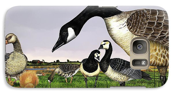 Galaxy Case featuring the painting Canada Goose - Greylag Goose With Fledglings Chicks - White Fronted Goose -  Barnacle Goose by Urft Valley Art
