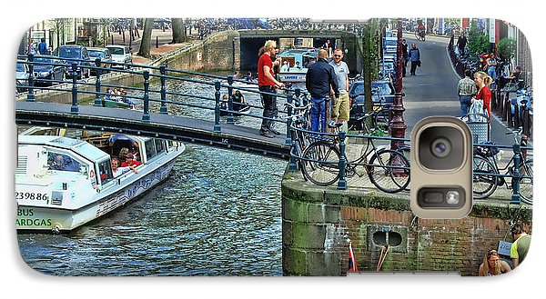 Galaxy Case featuring the photograph Amsterdam Canal Scene 1 by Allen Beatty