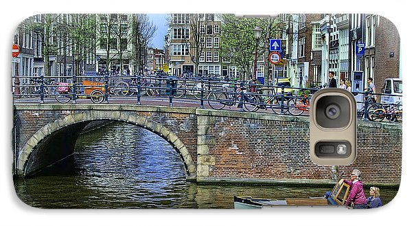 Galaxy Case featuring the photograph Amsterdam Canal Scene 3 by Allen Beatty