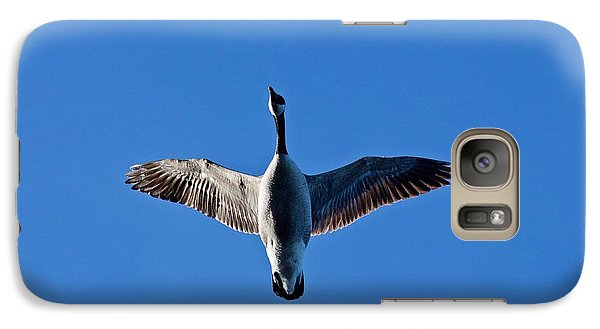 Galaxy Case featuring the photograph Candian Goose In Flight 1648 by Michael Peychich
