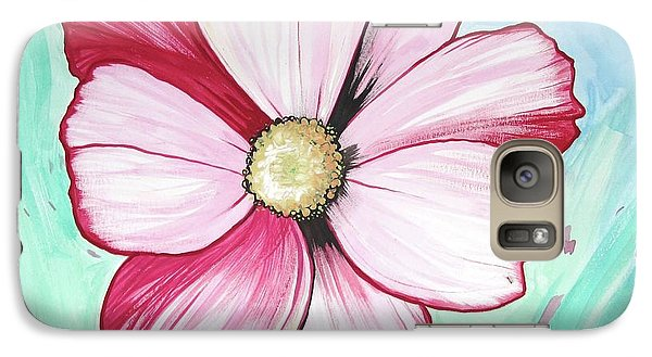 Galaxy Case featuring the painting Candy Stripe Cosmos by Mary Ellen Frazee