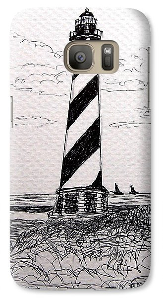 Galaxy Case featuring the drawing Cape Hatteras Lighthouse Nc by Julie Brugh Riffey