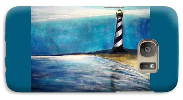 Galaxy Case featuring the pastel Cape Hatteras Lighthouse Night Glow by Patricia L Davidson