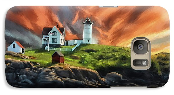 Galaxy Case featuring the digital art Cape Neddick Nubble Lighthouse by Lois Bryan
