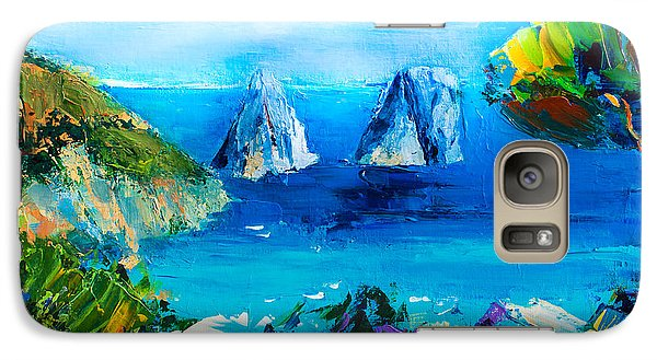 Galaxy Case featuring the painting Capri Colors by Elise Palmigiani