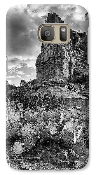 Galaxy Case featuring the photograph Caprock And Cactus by Stephen Stookey