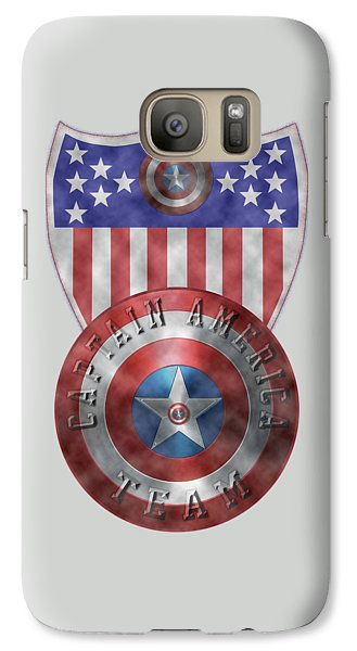 Galaxy Case featuring the painting Captain America Shields On Gold  by Georgeta Blanaru