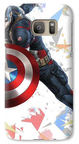 Galaxy Case featuring the mixed media Captain America Splash Super Hero Series by Movie Poster Prints