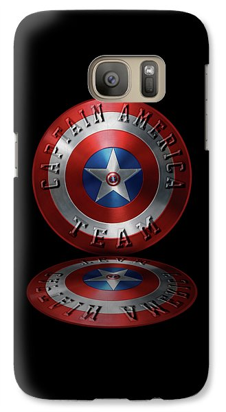 Galaxy Case featuring the painting Captain America Team Typography On Captain America Shield  by Georgeta Blanaru