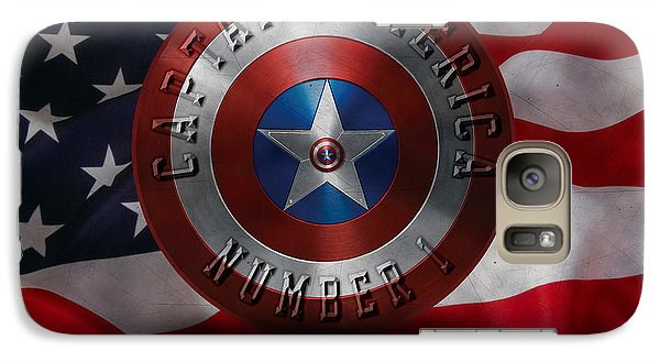 Galaxy Case featuring the painting Captain America Typography On Captain America Shield  by Georgeta Blanaru