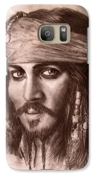 Galaxy Case featuring the drawing Capt.jack by Jack Skinner