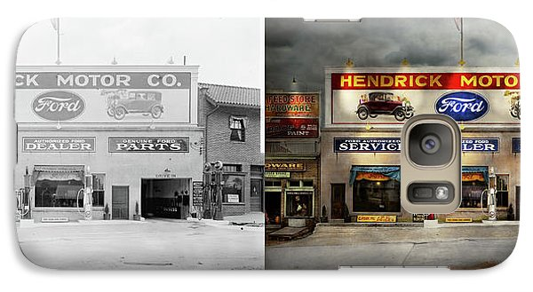 Galaxy Case featuring the photograph Car - Garage - Hendricks Motor Co 1928 - Side By Side by Mike Savad