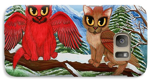 Galaxy Case featuring the painting Cardinal Cats by Carrie Hawks