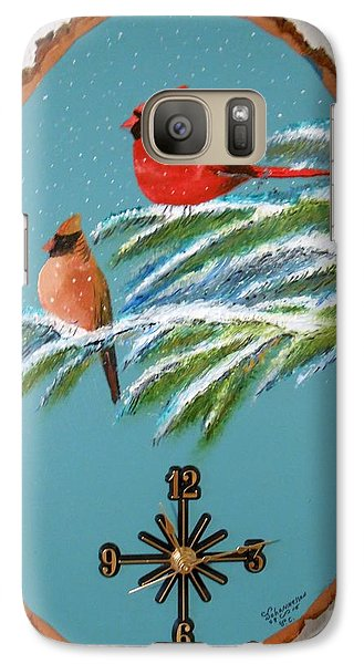 Galaxy Case featuring the painting Cardinal Clock by Al  Johannessen