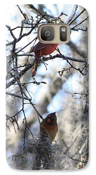 Lovebird Galaxy S7 Case - Cardinals In Mossy Tree by Carol Groenen