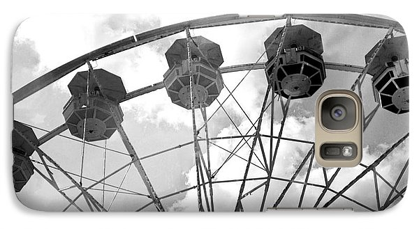 Galaxy Case featuring the photograph Carnival Ferris Wheel Black And White Print - Carnival Rides Ferris Wheel Black And White Art Prints by Kathy Fornal