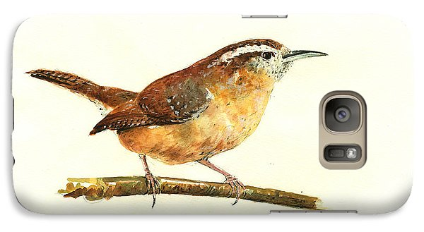 Carolina Wren Watercolor Painting Galaxy S7 Case by Juan  Bosco
