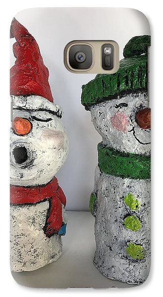 Galaxy Case featuring the sculpture Caroling Snowmen by Vickie Scarlett-Fisher