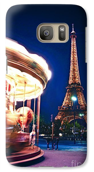 Carousel And Eiffel Tower Galaxy Case by Elena Elisseeva