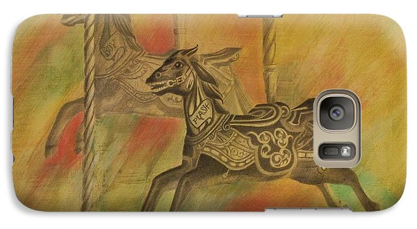 Galaxy Case featuring the drawing Carousel Horses by Lynn Hughes