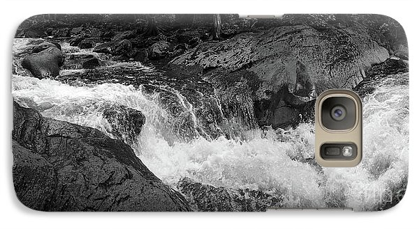 Galaxy Case featuring the photograph Cascade Stream Gorge, Rangeley, Maine  -70756-70771-pano-bw by John Bald