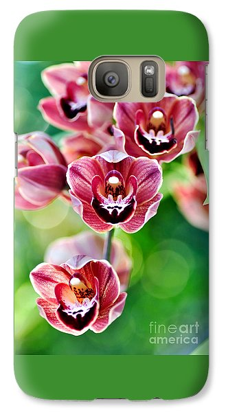 Cascading Miniature Orchids Galaxy S7 Case by Kaye Menner