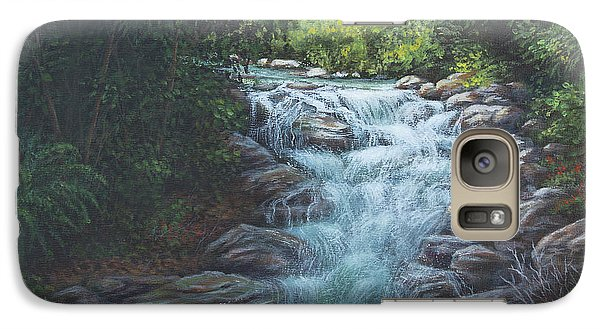 Galaxy Case featuring the painting Cascading Stream by Kim Lockman