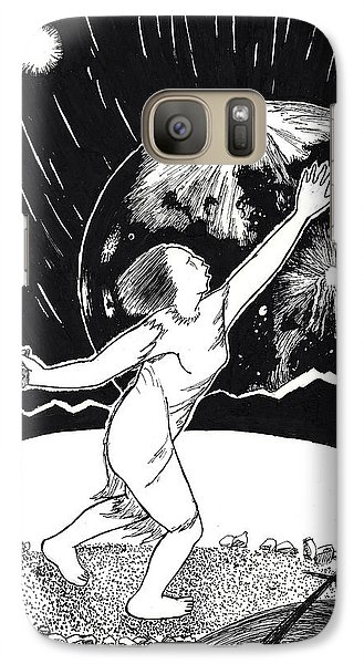 Galaxy Case featuring the drawing Casting The Stones From Squaw Winter by Dawn Senior-Trask