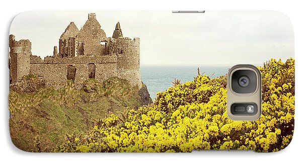 Galaxy Case featuring the photograph Castle Ruins And Yellow Wildflowers Along The Irish Coast by Juli Scalzi