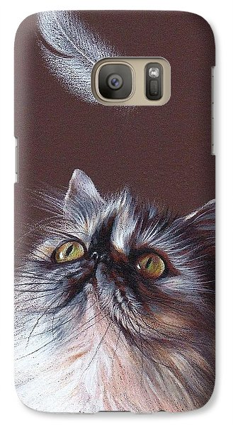 Galaxy Case featuring the drawing Cat And Feather by Elena Kolotusha