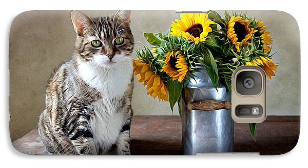 Sunflower Galaxy S7 Case - Cat And Sunflowers by Nailia Schwarz