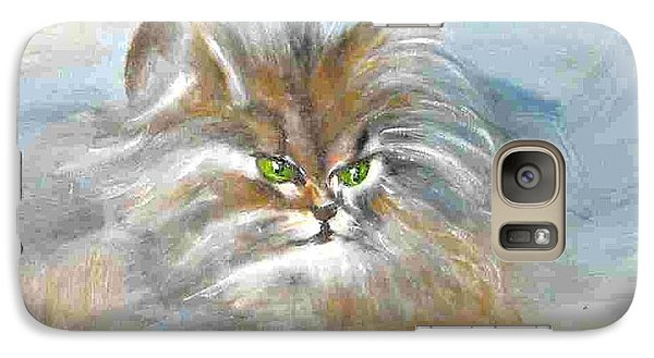 Galaxy Case featuring the painting cat by Dragica  Micki Fortuna