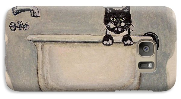 Galaxy Case featuring the painting Cat In The Bathtub by Elizabeth Robinette Tyndall