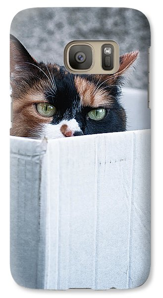 Galaxy Case featuring the photograph Cat In The Box by Laura Melis
